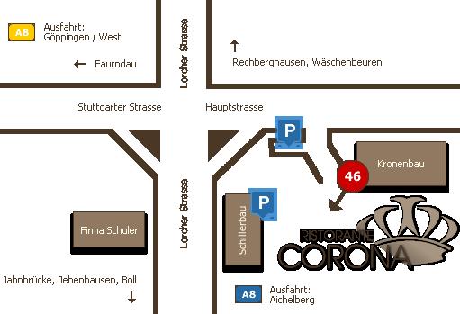 Anfahrt Ristorante Corona